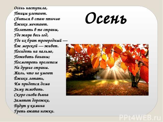 Осень Осень наступила, Птицы улетают. Сбиться в стаю птичью Ёжики мечтают. Полететь в те страны, Где жара весь год, Где их брат троюродный — Ёж морской — живет. Посидеть на пальме, Пожевать бананы; Посмотреть пролетом На другие страны. Ж…