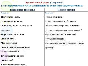 Русский язык 3 класс (2 вариант) Тема: Правописание «ь» после шипящих на конце и