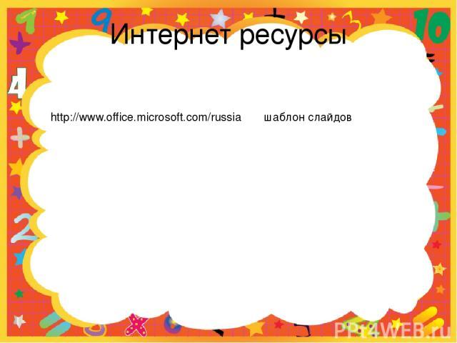 Интернет ресурсы http://www.office.microsoft.com/russia шаблон слайдов