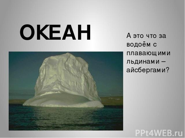 А это что за водоём с плавающими льдинами – айсбергами? ОКЕАН