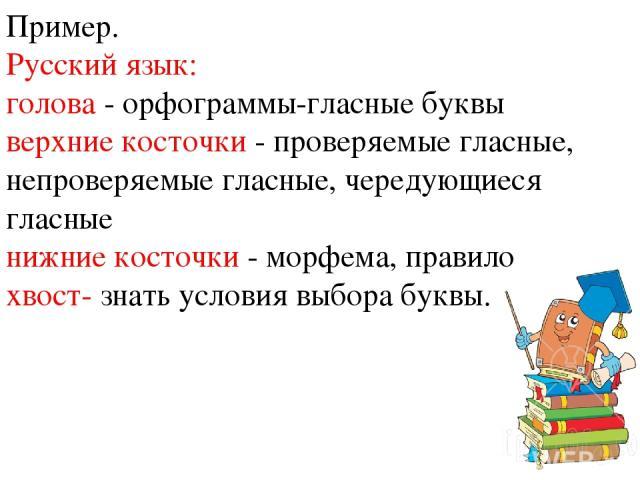 Пример. Русский язык: голова - орфограммы-гласные буквы верхние косточки - проверяемые гласные, непроверяемые гласные, чередующиеся гласные нижние косточки - морфема, правило хвост- знать условия выбора буквы.