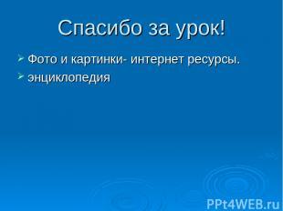 Спасибо за урок! Фото и картинки- интернет ресурсы. энциклопедия