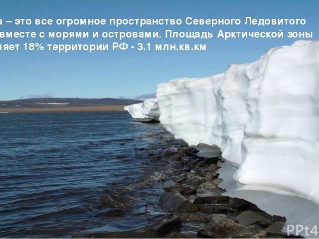 Арктика – это все огромное пространство Северного Ледовитого океана вместе с морями и островами. Площадь Арктической зоны составляет 18% территории РФ - 3.1 млн.кв.км