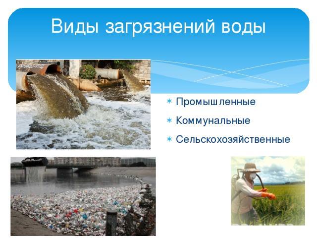 Промышленные Коммунальные Сельскохозяйственные Виды загрязнений воды