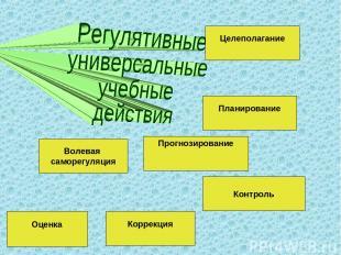 Целеполагание Планирование Контроль Прогнозирование Коррекция Волевая саморегуля
