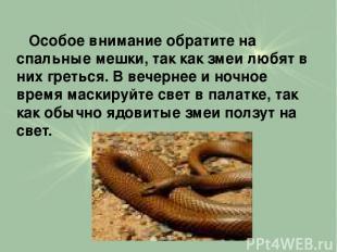 Особое внимание обратите на спальные мешки, так как змеи любят в них греться. В