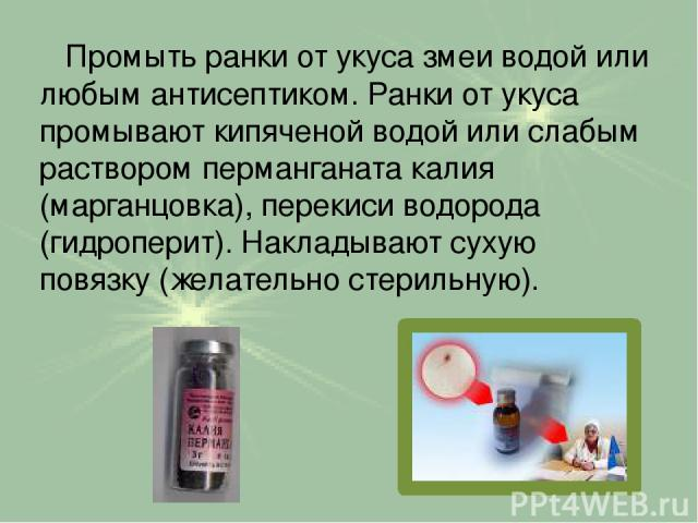 Промыть ранки от укуса змеи водой или любым антисептиком. Ранки от укуса промывают кипяченой водой или слабым раствором перманганата калия (марганцовка), перекиси водорода (гидроперит). Накладывают сухую повязку (желательно стерильную).