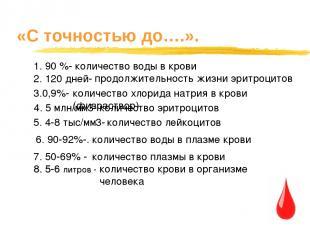 «С точностью до….». 1. 90 %- 2. 120 дней- количество воды в крови продолжительно