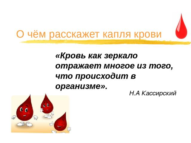 О чём расскажет капля крови «Кровь как зеркало отражает многое из того, что происходит в организме». Н.А Кассирский