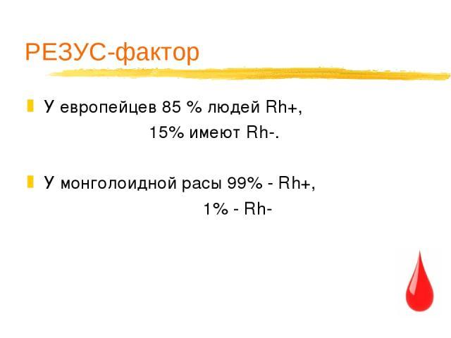 РЕЗУС-фактор У европейцев 85 % людей Rh+, 15% имеют Rh-. У монголоидной расы 99% - Rh+, 1% - Rh-