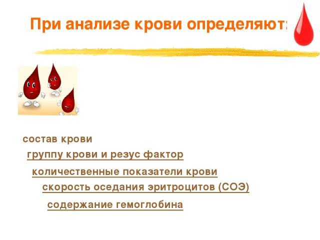 При анализе крови определяют: содержание гемоглобина скорость оседания эритроцитов (СОЭ) группу крови и резус фактор состав крови количественные показатели крови