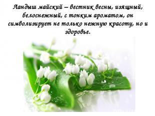 Ландыш майский – вестник весны, изящный, белоснежный, с тонким ароматом, он симв