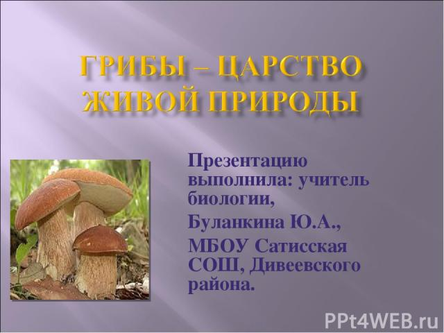 Презентацию выполнила: учитель биологии, Буланкина Ю.А., МБОУ Сатисская СОШ, Дивеевского района.