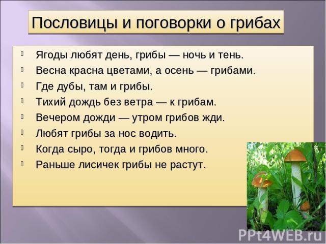 Ягоды любят день, грибы — ночь и тень. Весна красна цветами, а осень — грибами. Где дубы, там и грибы. Тихий дождь без ветра — к грибам. Вечером дожди — утром грибов жди. Любят грибы за нос водить. Когда сыро, тогда и грибов много. Раньше лисичек гр…
