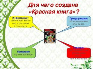 Для чего создана «Красная книга»? Информирует, какие виды живот-ных и растений в