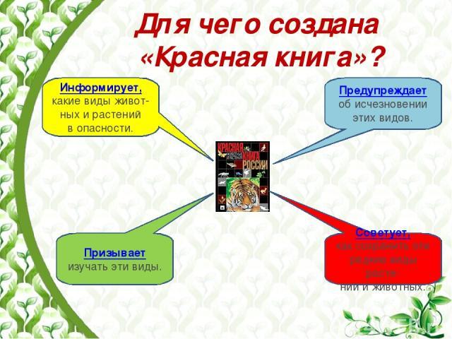 Для чего создана «Красная книга»? Информирует, какие виды живот-ных и растений в опасности. Советует, как сохранить эти редкие виды расте- ний и животных. Призывает изучать эти виды. Предупреждает об исчезновении этих видов.