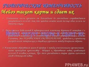ГЕНЕТИЧЕСКАЯ ИЗМЕНЧИВОСТЬ 1. Уменьшение числа хромосом от диплоидного до гаплоид