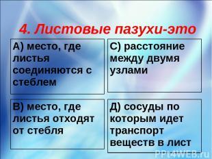 4. Листовые пазухи-это А) место, где листья соединяются с стеблем С) расстояние