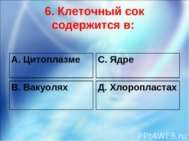 6. Клеточный сок содержится в: А. Цитоплазме С. Ядре В. Вакуолях Д. Хлоропластах