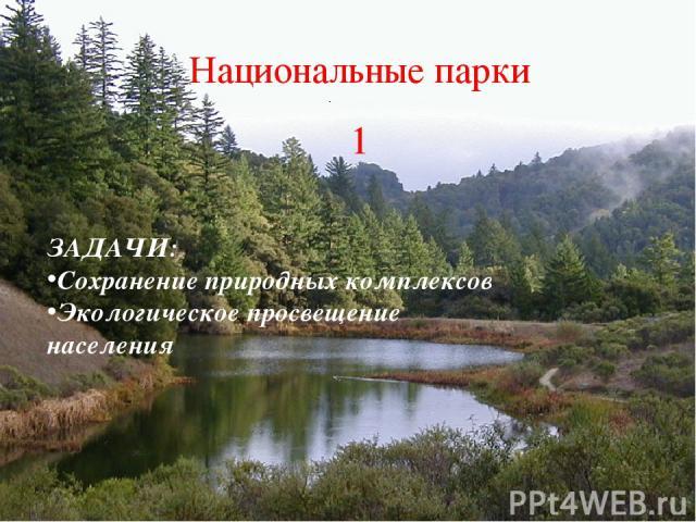 Национальные парки 1 ЗАДАЧИ: Сохранение природных комплексов Экологическое просвещение населения