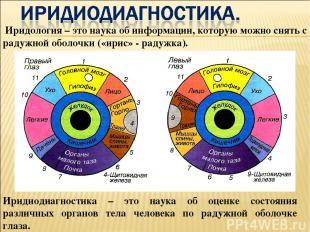 Иридиодиагностика – это наука об оценке состояния различных органов тела человек