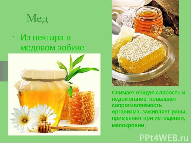 Мед Из нектара в медовом зобике Снимает общую слабость и недомогание, повышает сопротивляемость организма, заживляет раны, применяют при истощении, малокровии,
