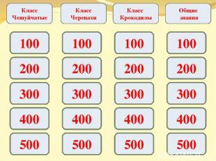 Класс Чешуйчатые Класс Черепахи Класс Крокодилы Общие знания 100 200 300 400 500