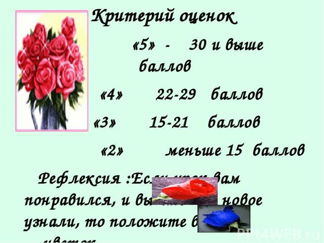 Критерий оценок «5» 30 и выше баллов «4» 22 29 баллов «3» 15 21 баллов «2» меньше 15 баллов Рефлексия :Если урок вам понравился, и вы что -то новое узнали, то положите в вазу цветок, если не понравился, то цветок.