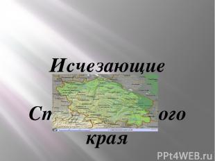 Исчезающие растения Ставропольского края Выполнила :учитель биологии и географии
