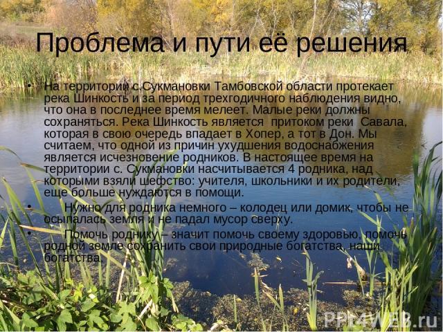 Проблема и пути её решения На территории с.Сукмановки Тамбовской области протекает река Шинкость и за период трехгодичного наблюдения видно, что она в последнее время мелеет. Малые реки должны сохраняться. Река Шинкость является притоком реки Савала…