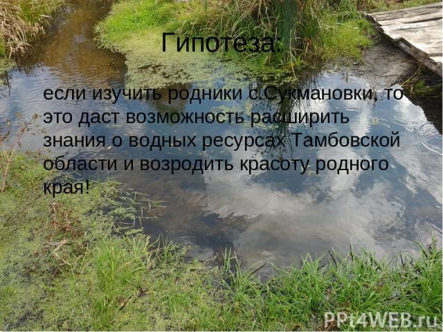 Гипотеза: если изучить родники с.Сукмановки, то это даст возможность расширить знания о водных ресурсах Тамбовской области и возродить красоту родного края!