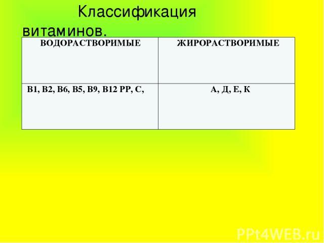 Классификация витаминов. ВОДОРАСТВОРИМЫЕ ЖИРОРАСТВОРИМЫЕ В1, В2, В6, В5, В9, В12РР, С, А, Д, Е, К