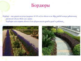 Бордюры Бордюр – это узкая полоска (ширина 10-30 см) из одного или двух рядов ни