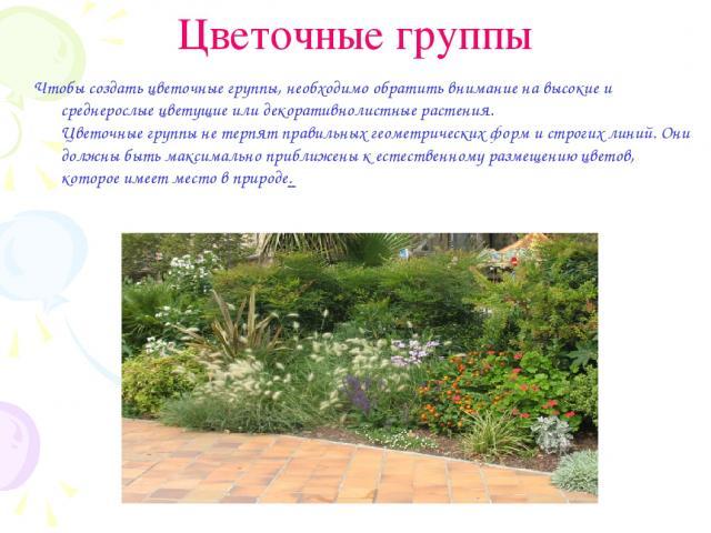 Цветочные группы Чтобы создать цветочные группы, необходимо обратить внимание на высокие и среднерослые цветущие или декоративнолистные растения. Цветочные группы не терпят правильных геометрических форм и строгих линий. Они должны быть максимально …