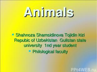 Animals Shahnoza Shamsidinova Tojidin kizi Repubic of Uzbekistan Gulistan state