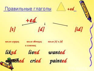 Правильные глаголы +ed +ed [t] [d] [id] после глухих после звонких после [t] и [