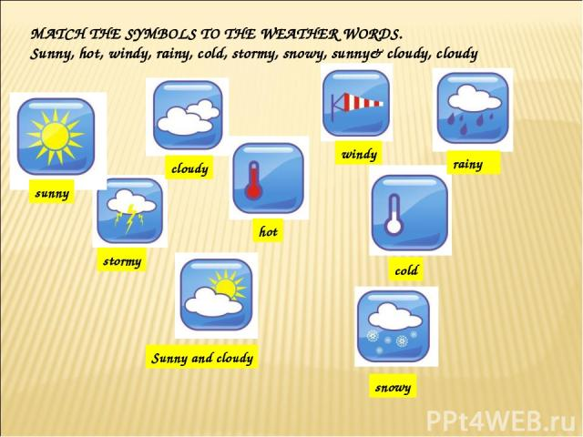 MATCH THE SYMBOLS TO THE WEATHER WORDS. Sunny, hot, windy, rainy, cold, stormy, snowy, sunny& cloudy, cloudy sunny cloudy windy rainy cold hot stormy Sunny and cloudy snowy