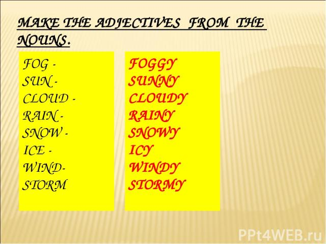 MAKE THE ADJECTIVES FROM THE NOUNS. FOG - SUN - CLOUD - RAIN - SNOW - ICE - WIND- STORM FOGGY SUNNY CLOUDY RAINY SNOWY ICY WINDY STORMY