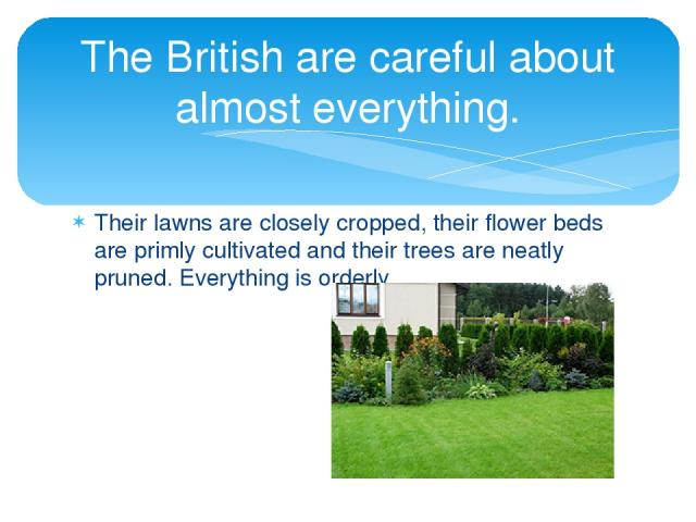 Their lawns are closely cropped, their flower beds are primly cultivated and their trees are neatly pruned. Everything is orderly. The British are careful about almost everything.