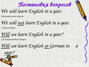 Постановка вопросов We will learn English in a year. Отрицательная форма: We wil