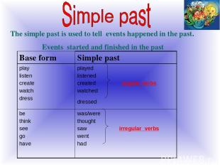 The simple past is used to tell events happened in the past. Events started and
