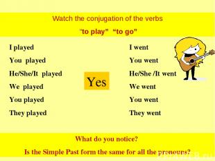"""Watch the conjugation of the verbs """"to play"""" """"to go"""" I played You played He/She/"""
