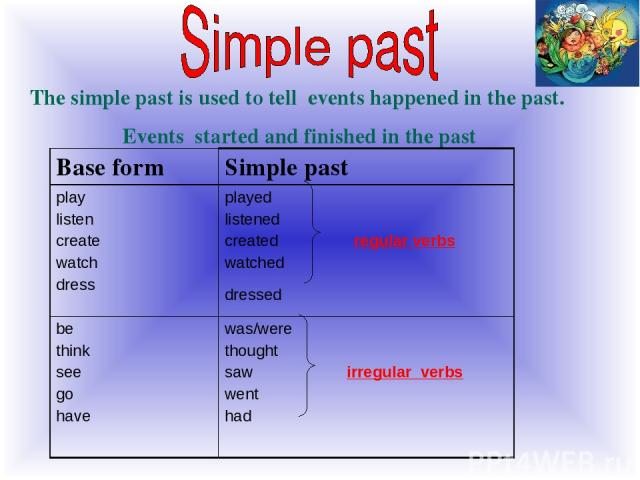 The simple past is used to tell events happened in the past. Events started and finished in the past Base form Simple past play listen create watch dress played listened created regular verbs watched dressed be think see go have was/were thought saw…