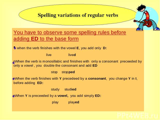 Spelling variations of regular verbs You have to observe some spelling rules before adding ED to the base form when the verb finishes with the vowel E, you add only D: live lived When the verb is monosillabic and finishes with only a consonant prece…
