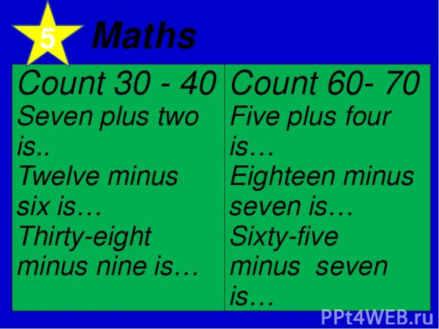 5 Maths Count 30 - 40 Seven plus twois.. Twelve minus six is… Thirty-eight minus nine is… Count 60- 70 Five plus four is… Eighteen minus seven is… Sixty-five minus  seven is…