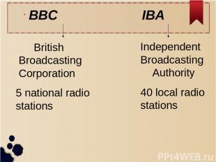 BBC IBA British Broadcasting Corporation 5 national radio stations Independent B
