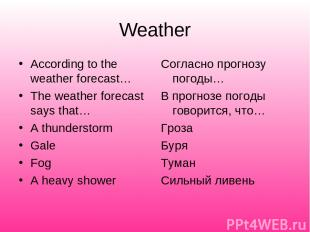 Weather According to the weather forecast… The weather forecast says that… A thu