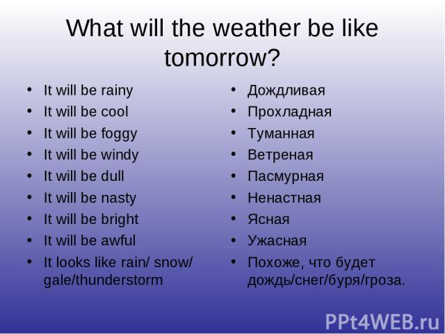 What will the weather be like tomorrow? It will be rainy It will be cool It will be foggy It will be windy It will be dull It will be nasty It will be bright It will be awful It looks like rain/ snow/ gale/thunderstorm Дождливая Прохладная Туманная …