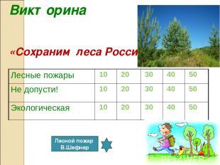 Викторина «Сохраним леса России» Лесной пожар В.Шефнер Лесные пожары 10 20 30 40