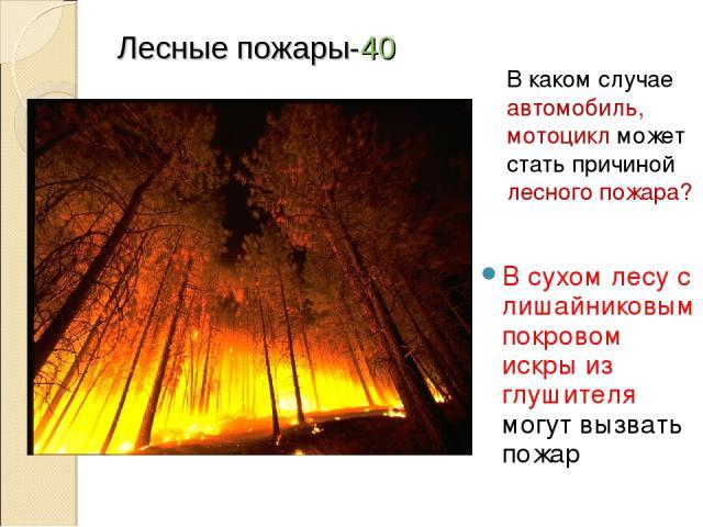 Лесные пожары-40 В сухом лесу с лишайниковым покровом искры из глушителя могут вызвать пожар В каком случае автомобиль, мотоцикл может стать причиной лесного пожара?